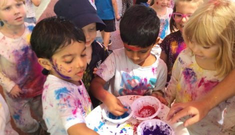 children covered in paint