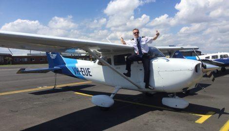 James on top of plane