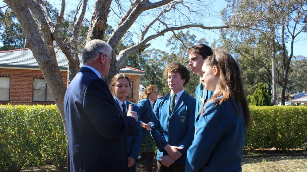 Paul Teys talking with school captains
