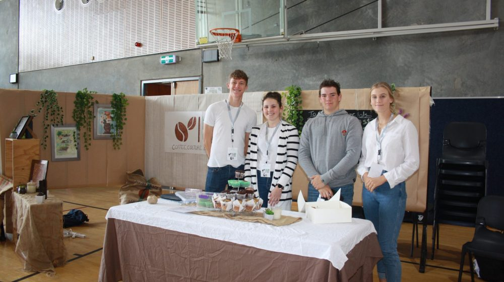 Students with their cafes
