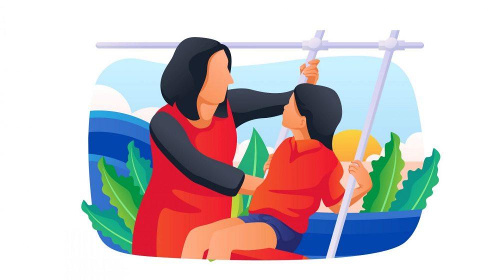 illustration child-parent swing