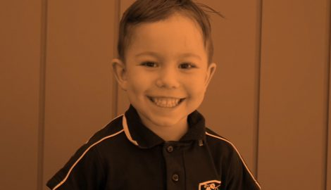 Preschooler smiling