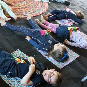 Children doing mindful techniques