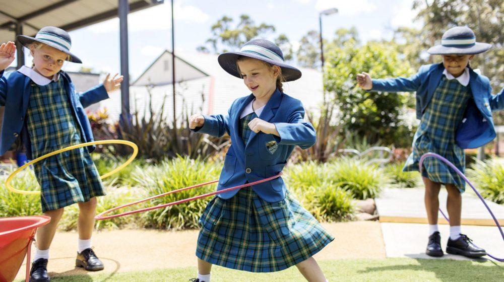 student using hula hoop