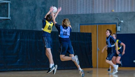 students playing netball