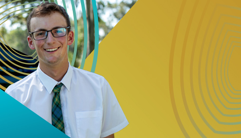 student smiling in an advertisement